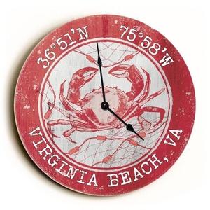 Custom Coordinates Crab Clock - Round Coral