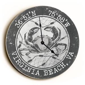 Custom Coordinates Crab Clock - Round Gray