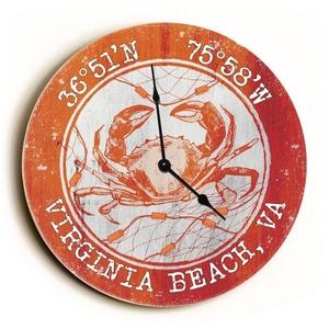 Custom Coordinates Crab Clock - Round Orange