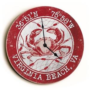 Custom Coordinates Crab Clock - Round Red
