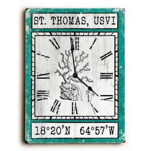 Custom Coordinates Vintage Coral Clock - Aqua