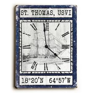 Custom Coordinates Vintage Ship Clock - Navy