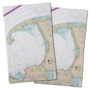 Ma: Cape Cod, Ma Nautical Chart Hand Towel (Set Of 2)