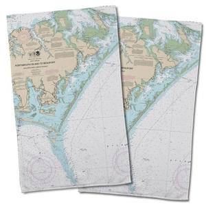 Nc: Portsmouth Island To Beaufort, Nc Nautical Chart Hand Towel (Set Of 2)