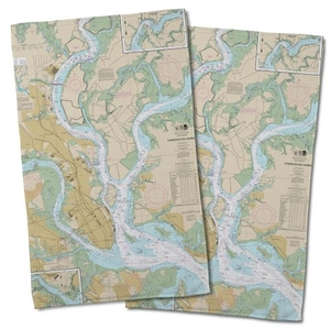 Sc: Charleston, Sc Nautical Chart Hand Towel (Set Of 2)