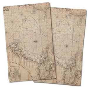 Old World Nautical Chart Hand Towel (Set Of 2)