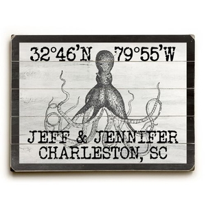 "Custom Coordinates Vintage Octopus Sign - 14""X20"""