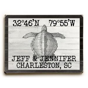 """Custom Coordinates Vintage Sea Turtle Sign - 14""""X20"""""""