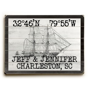 "Custom Coordinates Vintage Ship Sign - 14""X20"""