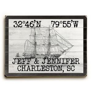 "Custom Coordinates Vintage Ship Sign - 18""X24"""