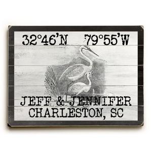 "Custom Coordinates Vintage Egrets Sign - 14""X20"""