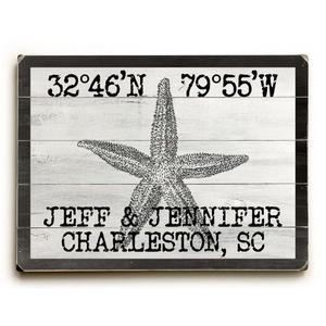"Custom Coordinates Vintage Starfish Sign - 14""X20"""