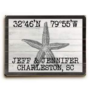 "Custom Coordinates Vintage Starfish Sign - 18""X24"""