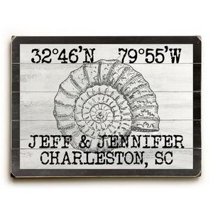 "Custom Coordinates Vintage Shell Sign - 25""X34"""