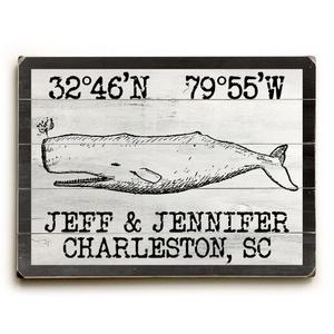 "Custom Coordinates Vintage Whale Sign - 25""X34"""