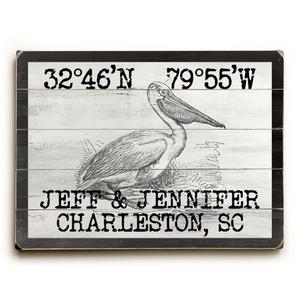 "Custom Coordinates Vintage Pelican Sign - 25""X34"""