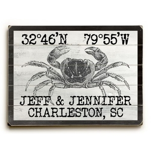 "Custom Coordinates Vintage Crab Sign - 25""X34"""