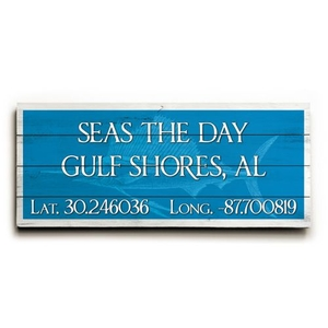 "Custom Latitude & Longitude Sign - Sm Sailfish Blue - 10""X24"""