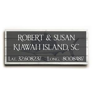 """Custom Latitude & Longitude Sign - Lg Sailfish Gray - 10""""X24"""""""