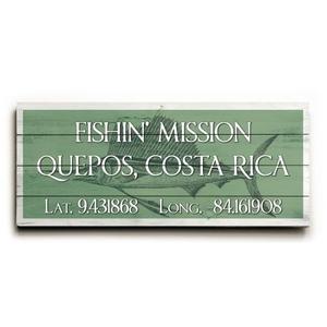 """Custom Latitude & Longitude Sign - Lg Sailfish Nile Green - 10""""X24"""""""