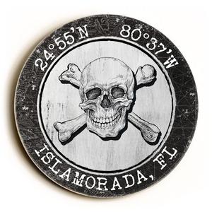 Custom Coordinates Round Skull & Crossbones Sign