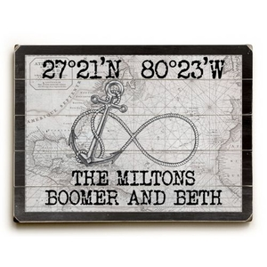 """Custom Coordinates Infinity Anchor Sign - White Vintage Chart - 25""""X34"""""""