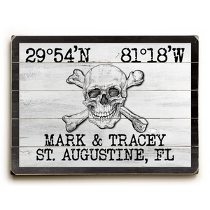 "Custom Coordinates Skull & Crossbones Sign - White - 14""X20"""
