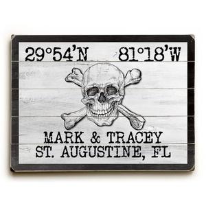 "Custom Coordinates Skull & Crossbones Sign - White - 30""X40"""