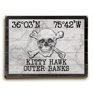 "Custom Coordinates Skull & Crossbones Sign - White Vintage Chart - 30""X40"""
