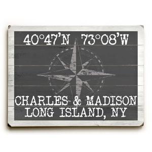"Custom Coordinates Classic Sign - Gray - 18""X24"""