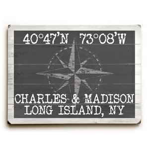 "Custom Coordinates Classic Sign - Gray - 25""X34"""