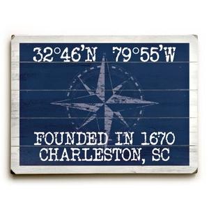 "Custom Coordinates Classic Sign - Navy - 14""X20"""