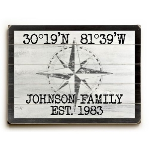 "Custom Coordinates Classic Sign - White - 30""X40"""