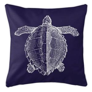 Vintage Sea Turtle Pillow - White On Navy