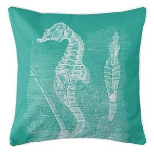 Vintage Seahorse Pillow - White On Aqua