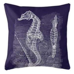 Vintage Seahorse Pillow - White On Navy