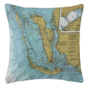 Sanibel Island & Pine Island, Florida Nautical Chart Pillow