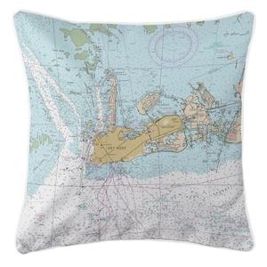Key West, Florida Nautical Chart Pillow