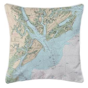 Hilton Head Island, South Carolina Nautical Chart Pillow