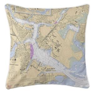 Boston, Massachusetts Nautical Chart Pillow