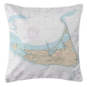 Nantucket, Massachusetts Nautical Chart Pillow