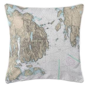 Frenchman Bay, Mount Desert Island, Maine Nautical Chart Pillow