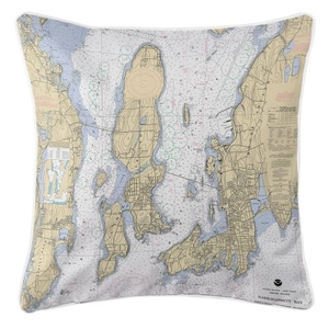 Narragansett Bay, Road Island Nautical Chart Pillow