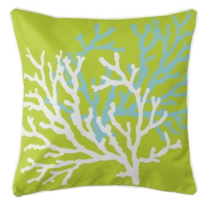 Coral Duo On Lime Pillow