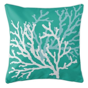 Coral Duo On Aqua Pillow