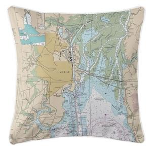 Mobile, Alabama Nautical Chart Pillow