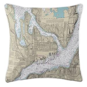 Bremerton, Washington Nautical Chart Pillow