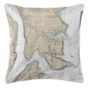 Bainbridge Island, Washington Nautical Chart Pillow