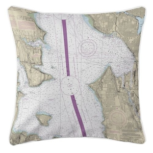 Seattle, Washington Nautical Chart Pillow