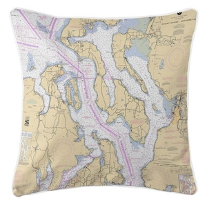 Puget Sound Northern, Washington Nautical Chart Pillow